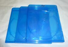 (3) Empty Blu-ray Cases 12mm 2-Disc DOUBLE w/ Logo Authentic Replacement NEW!