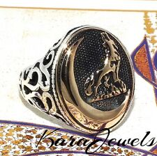 925 Sterling Silver Men's ring with howling Wolf at the moon free resizing