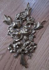 "Brass Roses & Flowers Wall Plaque Shabby Cottage Chic Bow Decor 9"" Vintage NICE!"