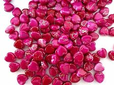 180pcs 10mm Acrylic Gold Striped HEART Water Color Spacer Beads HOT PINK