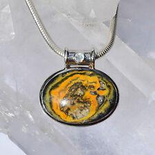 Mustard Jaspis Anhänger, 925er Silber, Edelsteinanhänger (11150), mit Mondstein