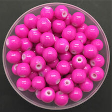 Wholesale 6mm 50PCS Rose Glass Round Pearl Spacer Loose Beads Jewelry Making