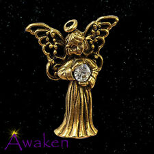 GUARDIAN ANGEL LAPEL PIN 14ct Gold Plated w/ Clear Stone 27 x 25mm MADE IN USA