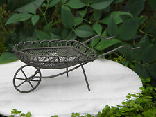 Miniature Dollhouse FAIRY GARDEN Furniture ~ Rusty Brown Metal Cart Wheelbarrow