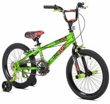 Boys 18 Inch Bike with Front Freestyle Pegs and Training Wheels Green
