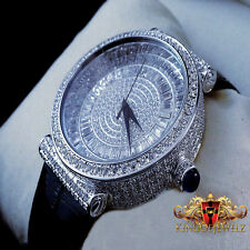 NEW 14K WHITE GOLD FINISH MENS LAB DIAMOND GENUINE LEATHER SWISS BAGUETTE WATCH