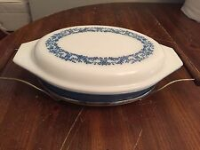 Vintage Pyrex Blue Ivy Promotional Blue 063 Divided Casserole with Lid & Carrier