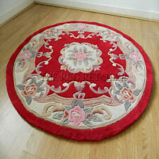 RED CHINESE PREMIUM WOOL AUBUSSON HAND TUFTED RUGS 4' ROUND