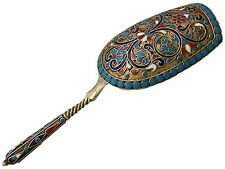 Russian Silver Gilt and Polychrome Cloisonné Enamel Caddy Spoon - Antique