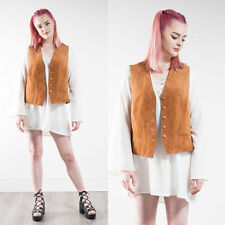 VINTAGE LAURA ASHLEY BROWN SUEDE FRONT WOMENS HIPPIE BOHO WAISTCOAT GILET 14