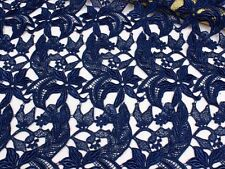 """Stunning Navy Guipure Embroidery Lace Fabric 39"""" Wide for Bridal Dress 1/2 Yard"""