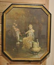 """Vintage Lithograph """"PEACE"""" in Wood Frame 26"""" High"""