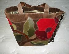 COACH Ltd Ed DK BROWN SUEDE FLOWER RED FLORAL XL POPPY FOR PEACE TOTE BAG PURSE