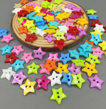 100X Resin Buttons Mixed Colors Sewing Scrapbooking 2 Holes Star Button 12.5mm