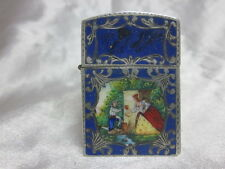 1950's Italian Made 800 Silver Engraved with Enameled Scene Petrol Lighter