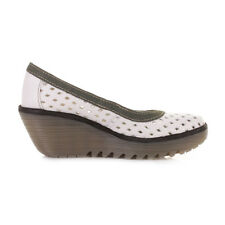 Fly London Yeo Wedge Shoes In White/Khaki/Multi - Size 39 (R194)