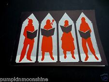 Vintage Unused Leonard Fisher Xmas Greeting Card  Shadows of Carolers Singing