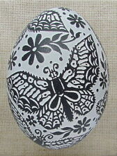 Pysanka, Real Ukrainian Easter Egg, Emu Ostrich Rhea Shell, Etched Design
