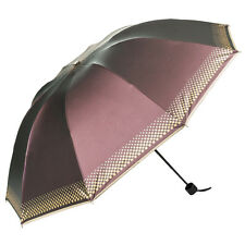 Light Purple Women Romantic Travel Windproof Anti Sun Rain Folding UV Umbrella