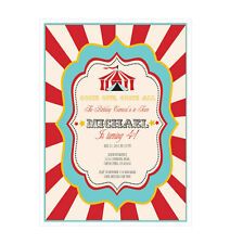 Circus Carnival PERSONALIZED Birthday Party Invitations - Set of 16