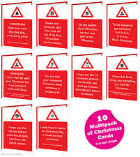 Brainbox Candy Rude Warning Christmas Xmas cards multi pack of 10 funny cheeky