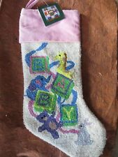 """sugar plum dreams hooked BABY babie's first christmas stocking 22 1/2"""""""