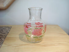 Vintage ANCHOR HOCKING Rose Pattern Glass Juice Pitcher Decanter Carafe