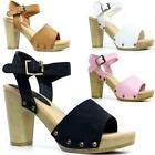 Womens Ladies Chunky Block High Heel Clog Sandals Ankle Summer Fashion Shoes Siz
