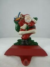 VINTAGE MIDWEST CAST IRON SANTA WITH TOY SACK CHRISTMAS STOCKING HANGER