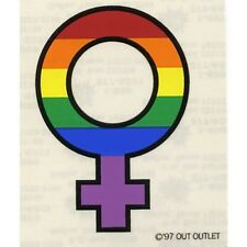 "LGBT Gay & Lesbian Rainbow Pride Window / Car Sticker  ""Single Female"" 3.5""x 4"""