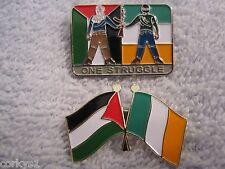 """Palestine/Ireland 2pc Set  """"ONE STRUGGLE"""" & Pales/Ireland Flag Pin/Badges Mint"""