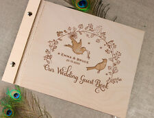 Unique Personalised Wooden Wedding Guest Book Alternative Vintage Rustic Birds