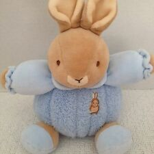 Baby Bow Blue Bunny Rattle Plush Peter Rabbit Darwin Creations Lovey Russ Berrie