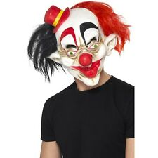 UNISEX QUALITY CREEPY CLOWN MASK BLACK & RED HALLOWEEN SCARY FANCY DRESS HORROR