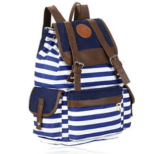 Classic Stripes Pattern Womens Men Leisure Canvas Backpack Shouler Bag Blue Hot