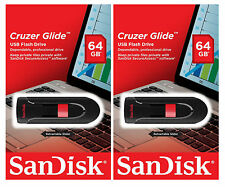 SanDisk 128GB (Set of 2x 64GB) Cruzer GLIDE USB Flash Pen Drive Sealed Retail Pk