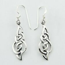 Silver earrings hook 925 sterling silver celtic knot dangle 40mm height fashion