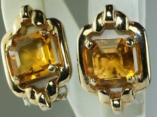VINTAGE REJA YELLOW RHINESTONE CLIP EARRINGS