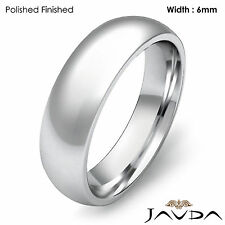 Solid 18k Gold White Plain Dome Wedding Band Men's Comfort Ring 6mm 10.2g 9-9.75