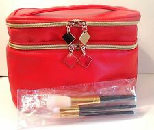 Makeup Train Case Cosmetic Bag Organizer with brushes NEW