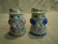 Pink Blue Victorian Dress Persian Kitty Cat Sister Salt and Pepper Shakers    30