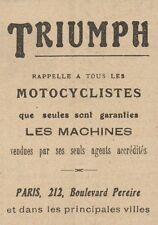 Y7650 Motociclette TRIUMPH - Pubblicità d'epoca - 1920 Old advertising