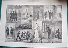 "1888 ANTIQUE PRINT- SKETCHES OF ""COERCION"" THE PRISON LIFE OF AN IRISH M.P."
