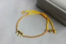 New Gold Color Plated Dot Wishing Elephant Yellow Good Luck Bracelet