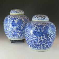 STUNNING PAIR OF ANTIQUE CHINESE PORCELAIN BLUE AND WHITE GINGER JARS W/ DRAGONS