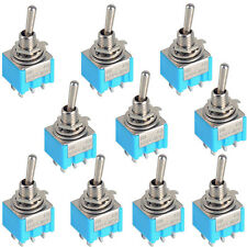 10pc Blue 6-Pin DPDT ON-ON Mini MTS-202 6A 125VAC Miniature Toggle Switches SR1G
