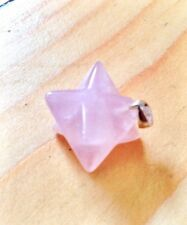 ROSE QUARTZ & 925 SILVER MERKABA STAR PENDANT CRYSTAL GEMSTONE JEWELLERY HEA