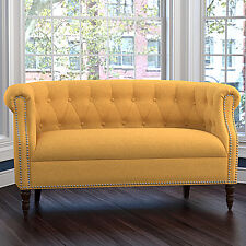 Yellow Tufted Loveseat English Accent Living Room Wood Furniture Settee Sofa Cha