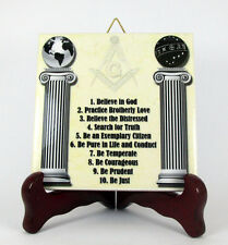 Masonic regalia ten commandments of mason ceramic tile gift idea handmade