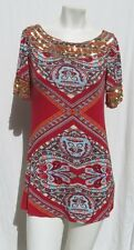 SWEETIES Red Gold Sequin Ethnic Print Stretch Rayon Long T Shirt Tunic Top M L
